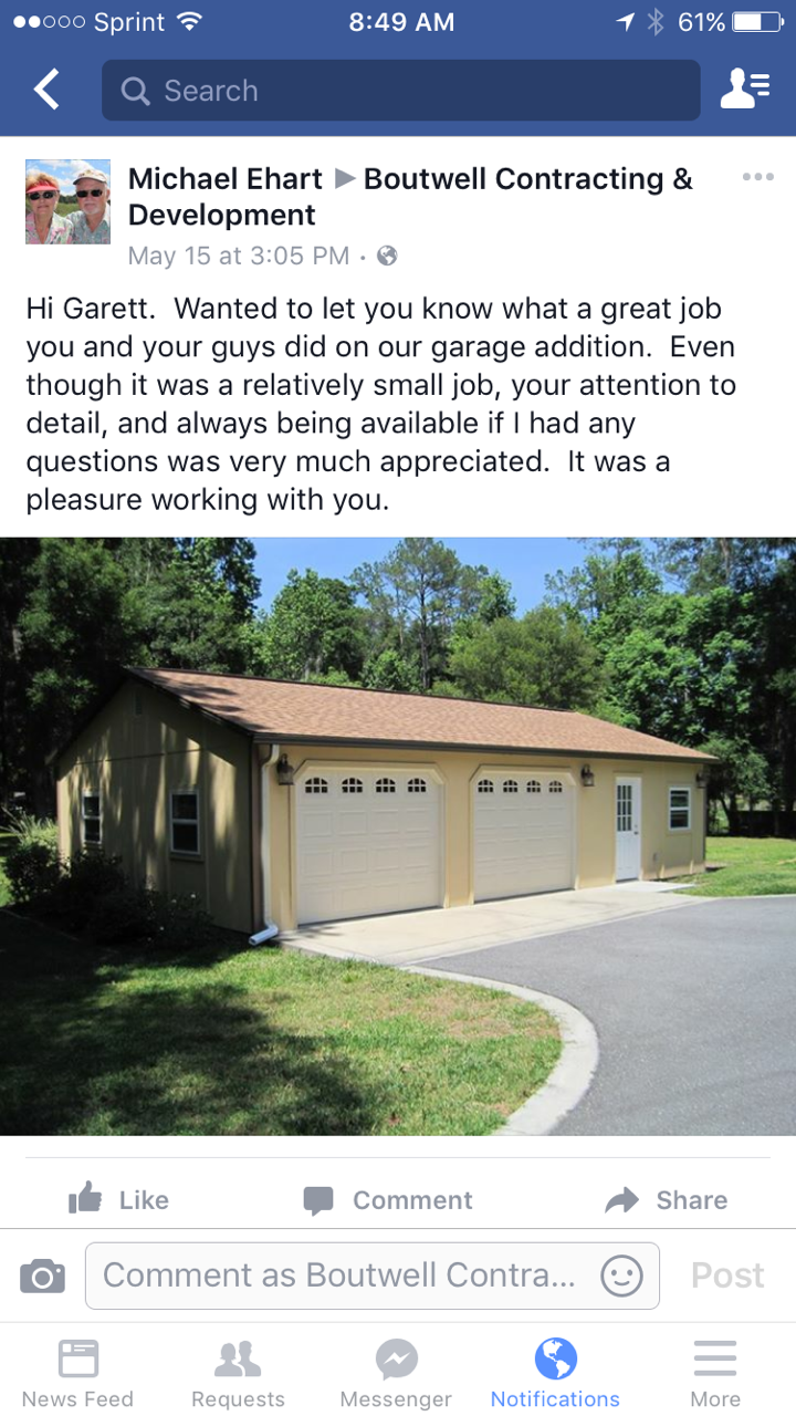 A testimonial for Boutwell Contracting & Development, via Facebook